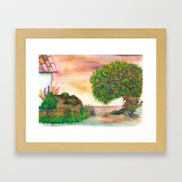Countryside Watercolor Illustration Framed Art Print