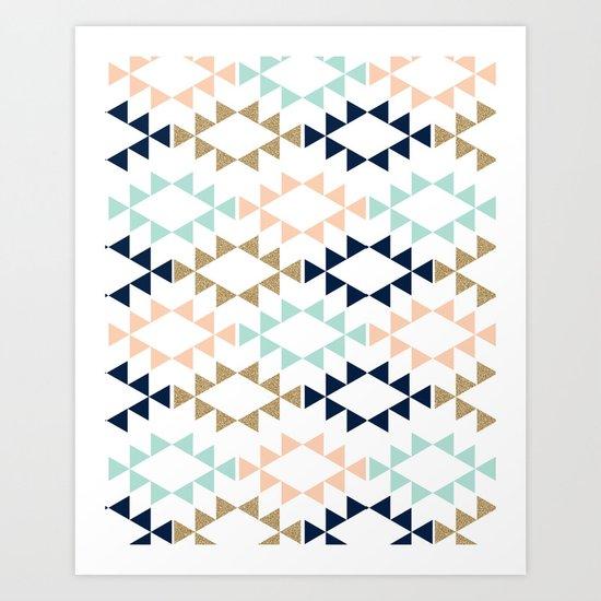 Aztec - Geometric tribal pattern in navy, gold glitter, pink, and blush Art Print