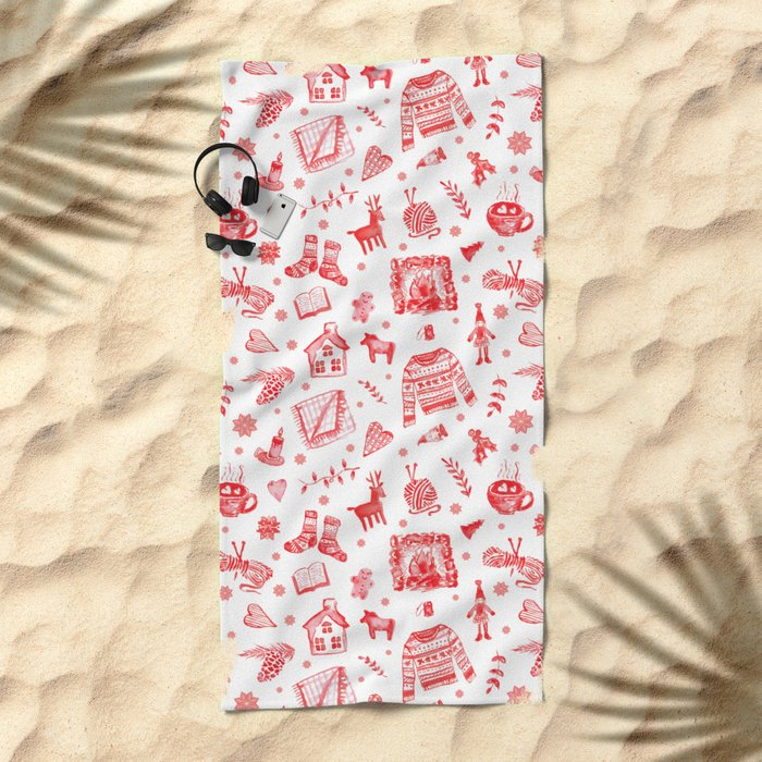 Cozy Hygge Elements in Red + White Beach Towel