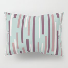 Interrupted Lines Mid-Century Modern Pattern in Celadon Mint and Plum Pillow Sham