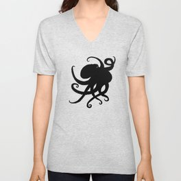 """Octopus Silhouette"" digital illustration by Amber Marine, (Copyright 2015) Unisex V-Neck"