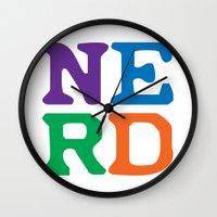 nerd Wall Clocks featuring Nerd by Jenna Allensworth