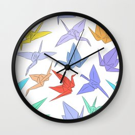 Japanese Origami paper cranes symbol of happiness, luck and longevity Wall Clock