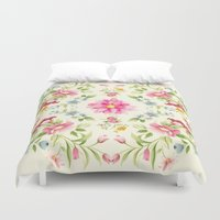 folk Duvet Covers featuring folk floral by clemm