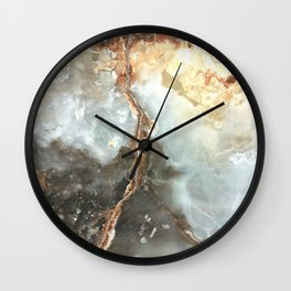 Golden Grey Marble Wall Clock