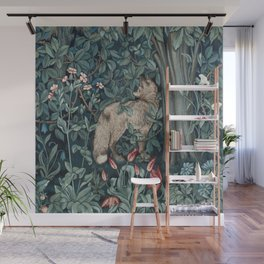 William Morris Forest Fox Greenery apestry Wall Mural