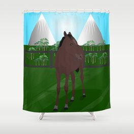 Brown horse stallion on a green feild under the mountains Shower Curtain