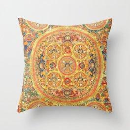 Buddhist Mandala Five Circles 2 Throw Pillow