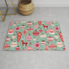 Mid-Century Ornaments in Red and Mint Rug