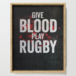 Give Blood Play Rugby Serving Tray