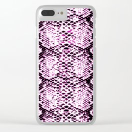 pink neon snake print Clear iPhone Case
