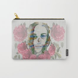 girl and flowers color Carry-All Pouch