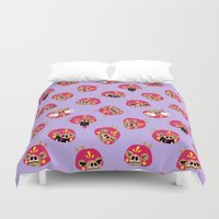 wrestling Duvet Covers featuring Wrestling Academy pattern 02 by TokyoCandies
