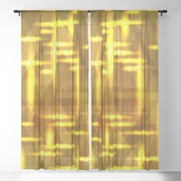 Golden cross on a yellow metal background. Sheer Curtain