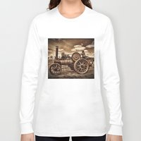 jem Long Sleeve T-shirts featuring Jem General Purpose Engine in sepia by Avril Harris