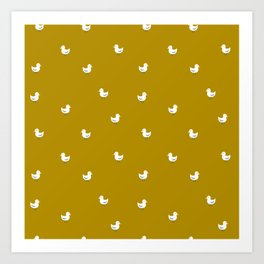 White birds in mustard orange Art Print