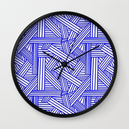 Sketchy Abstract (Blue & White Pattern) Wall Clock