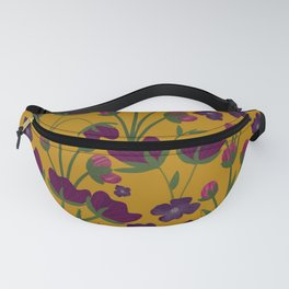 Purple and Gold Floral Seamless Illustration Fanny Pack