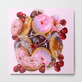 RED CHERRIES & PINK-CHOCOLATE FROSTED DONUTS Metal Print