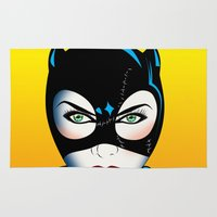 catwoman Area & Throw Rugs featuring Catwoman by mark ashkenazi