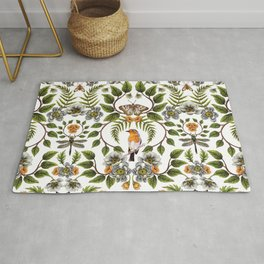 Spring Reflection - Floral/Botanical Pattern w/ Birds, Moths, Dragonflies & Flowers Rug