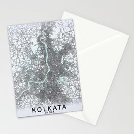 Kolkata, India, White, City, Map Stationery Cards