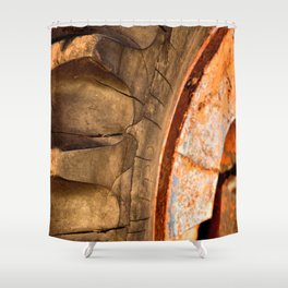 Old Tractor Tire Shower Curtain