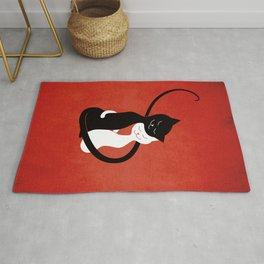 White And Black Cats In Love (red) Rug