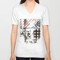 flag V-neck T-shirts featuring FLAG by TOO MANY GRAPHIX