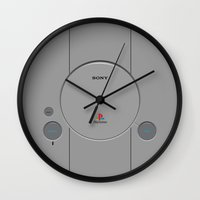 playstation Wall Clocks featuring The original Playstation by KickPunch