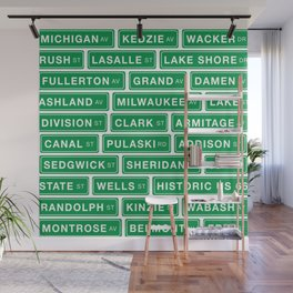 Famous Chicago Streets // Chicago Street Signs Wall Mural