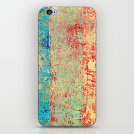 Brilliant Encounter, Abstract Art Turquoise Red iPhone Skin