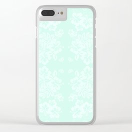 Celadon Mint Green Pastels Tropical Hibiscus Flowers Pattern Clear iPhone Case