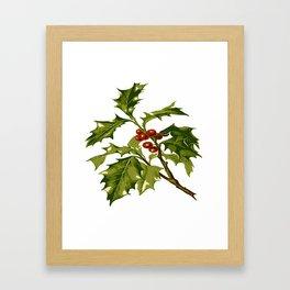 Holly Christmas Red Berry Framed Art Print
