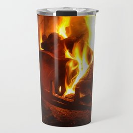 Log Fire Travel Mug