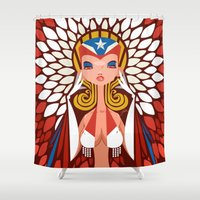 chile Shower Curtains featuring FIFA 2014 Samba Girls Series: Chile by Pweety Sexxay