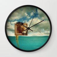 sea horse Wall Clocks featuring Sea Horse by Ross Sinclair