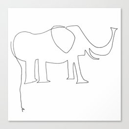 Line Elephant Canvas Print