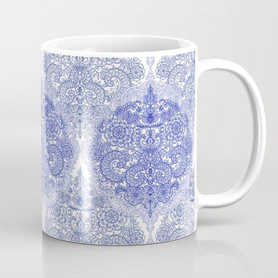 Happy Place Doodle in Cornflower Blue, White & Grey Mug