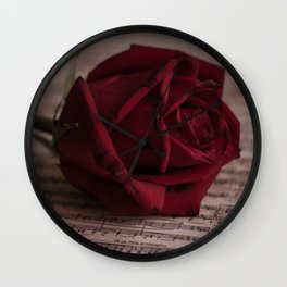 Rose on the music book Wall Clock