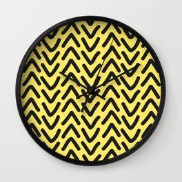 chevron sunny yellow geometric pattern Wall Clock