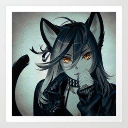 Leather Cat Art Print