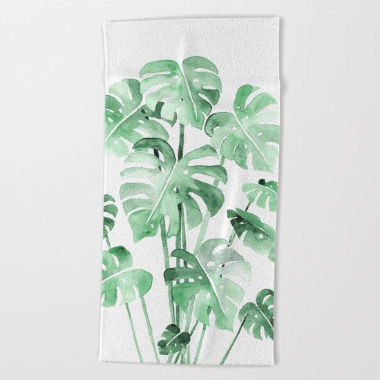 Delicate Monstera Green #society6 Beach Towel