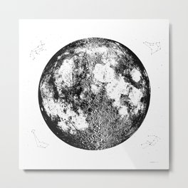 Negative Full Moon Print, by Christy Nyboer Metal Print
