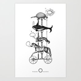 The fabulous story of a very unnatural carousel of wild animals Art Print