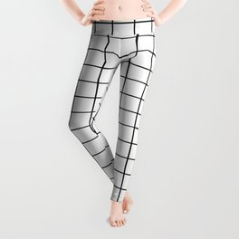 Geometric Black and White Grid Print Leggings