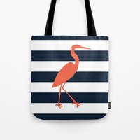 crane Tote Bags featuring Crane by Gathered Nest Designs