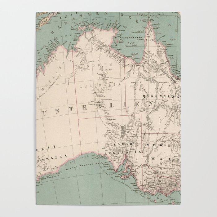 Vintage Topographic Map of Australia (1868) Poster by bravuramedia