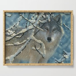 Wolf in Snow - Broken Silence Serving Tray