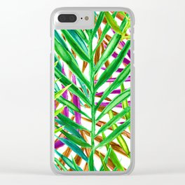 Rainbow Watercolor Palm Leaves in White Clear iPhone Case